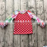 Baby girls polka dot christmas outfit ruffle sleeves kids cotton shirt children fall long shirt