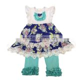 2017 hot sale girls 2pc outfit sets floral print boutique outfit sets with icing pants baby ruffle outfits