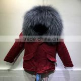 Red parka for 2-14Y Children Wear in winter,grey thick fur Lined short red baby fur parka