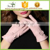 new style winter pink bright color soft fancy sheep leather gloves for ladies