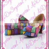 Aidocrystal colorful crystal tetragonum design wedding party wedges shoes and bag set