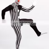 Black White Full Body Spandex Cosplay Zentai Costume Split Clown Dress