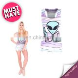 Don't be sad alien brand slim wholesale printed sport gym stylish stretchy yoga jogging hot girls fashion women tank top