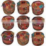 Indian Handmade work Home Decor Embroidery Work Ottoman Cotton Pouf Cover Patchwork Living Room Ottoman Cover wholesale Lot