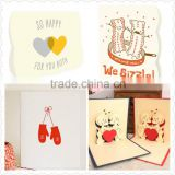 2016 hot sale wholesale photo frame card,fancy card, card with foot, spot UV card, butterfly card