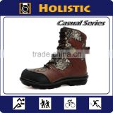 Leather Canvas upper Men Casual style wood camouflage hunting boots