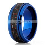 Men's Blue Titanium Black And Red Carbon Fiber Men's 9mm Comfort Fit Band, New Titanium Blue Carbon Fiber Ring