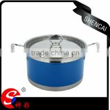 Kitchen accessories colorful stainless steel indian hot soup pot set for cooking