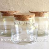 Glass jar with cork lid
