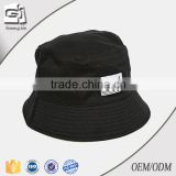 Guangjia 2016 Top quality black cotton twill flat embroidery bucket hat