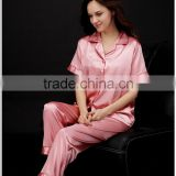 Silk Thin Womens Pink Trousers Nightgown Sleepwear Pajamas Set