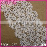 Factory Cheap Creamy White 24.5cm Wide Nylon Milk Fiber Embroideried Water Soluble Woman Dress Laces Fabric