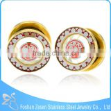 TP011376 top quality glass gold ear gauges plugs free sample body piercing jewelry