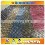 2016 Satin stripe fabric with soft hand feeling leather new design leather with pu paint leather
