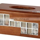 Exquisite Antique Oka Wooden Shell Retro Handkerchief Paper Tissue Box for Gift