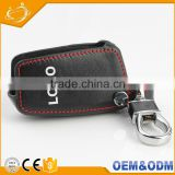 Factory supply genuine pu black leather 2 bottons car key bag with logo for Toyota