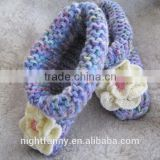 Purple multi-color knit slippers,crochet pale yellow flower,Alaskan lilies,baby shower,customized size for women and baby