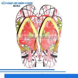 New beauful design women's flip flops slippers with Thermal transfer insole