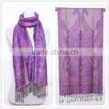 2015 Spring Latest Purple Butterfly Comfortable Design Lady Scarf Women Scarf,100% Polyester Colored Stripes Square Tassel Scarf