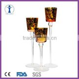 Manufacturer hand blown gold decoration tall glass candle holder
