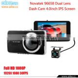 2016 New Car DVR Novatek 96658 Dual Lens Dash Cam 4.0inch IPS H.264 FHD 1080P G-sensor Video Recorder Dashboard Camera BlackBox