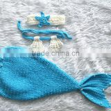 Wholesale custom coloful handmade crochet mermaid tails crochet newborn outfit ph#2