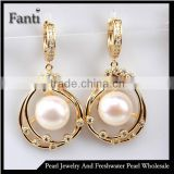 100% genuine freshwater pearl earrings rose gold earrings for women super deal with gift box wholesale