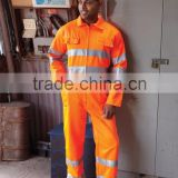 orange coverall for workwer /winter protective workwear with double reflective tapes good quality