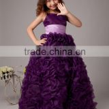 KE232 Beautiful Purple ball gown ruffled flower girl dresses with bow belt 2015, dresses for girls of 7 years old