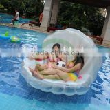 2016 Custom inflatable seashell pool water float mattress toy/inflatable beach bed