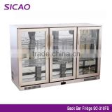Stainless steel bar fridge 3 door display fridge glass door beer display beverage fridge freezer