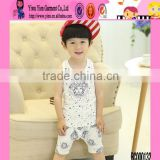 2015 Lovely Boy Summer Sleeveless Printed Baby Set Outfit Cotton Material Made In China Peruvian Baby Clothes