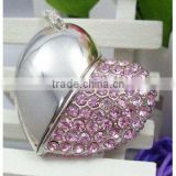Crystal Diamond Heart Shape Jewelry USB Flash Drive with Necklace,usb flash drive price