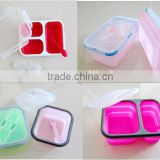 BPA free Food Grade microwave safe Silicone Picnic Lunch Box Folding Silicone rubber Lunch Box