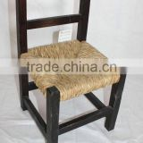 vintage black seagrass woven seat solid wood baby chair with lidder back