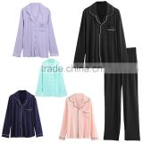 custom Loungewear european fashion ladies satin pajamas sets Long trousers and long sleeved buttoned shirt