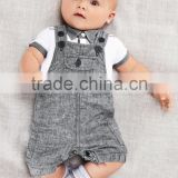 Wholesale boutique kids jean pants baby clothes set summer denim overalls for baby boy