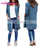 Hote Sale Elegant Blue Ladies Sweater Coat Long Cardigan Women