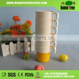 2 color promotional stackable plastic mug with short handle