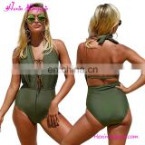 Wholesale Women Bikini One Piece Green Tie Backless Full Body Swimwear