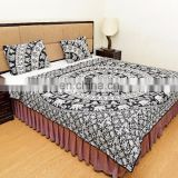 Indian New Black Elephant Mandala Quilted Blanket Comforter Queen Size Reversible Duvet Set 100% Cotton Bedding Set