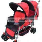 Rotate and brake twin baby strolle with two seats