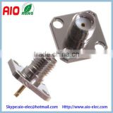 4 Hole 50 Ohm SMA Female Chassis Mount Receptable used in GPS, wireless LAN, telecommunication and testing instruments