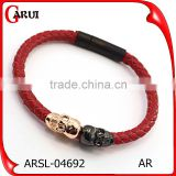 china jewelry factory wholesale leather bracelet with custom skull charms