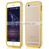 4.7 inch double layer diamante glowing unbreakable stainless steel metal case for iphone 6