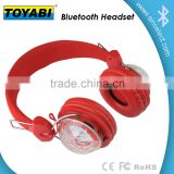 2015 LED Flashing Headset Portable Stereo Mp3 Player Wireless Digital Headphones Sub-woofer TF & FM