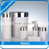 Bathroom Sets / Marble / White elegant / soap box+cup+toilet brush+dustbin+lotion bottle