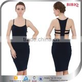 2015 New Design Sexy Spaghetti Strap Backless Black Midi Bodycon Dress