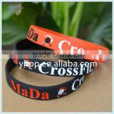 Personalized Logo Mada Crossfit Silicone Rubber Wristband Bracelet                                                                         Quality Choice