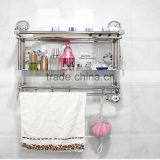 No drilling Bathroom Double Deck Towel Rack wall mounted shampoo Clothes Storage Holder With Removable vacuum suction Hook